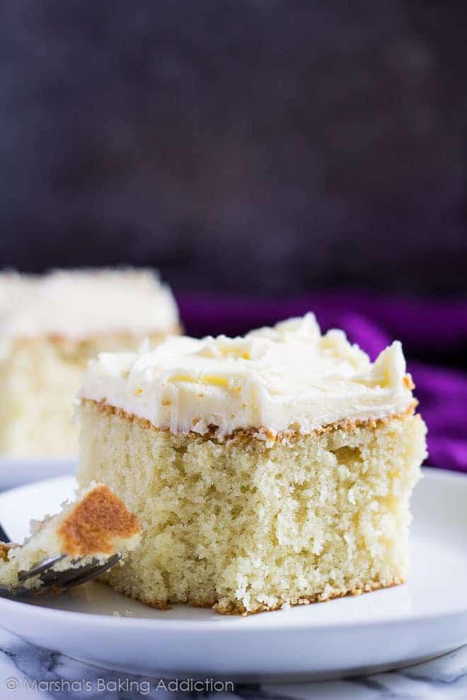 Perfect Vanilla Sheet Cake | Marsha's Baking Addiction