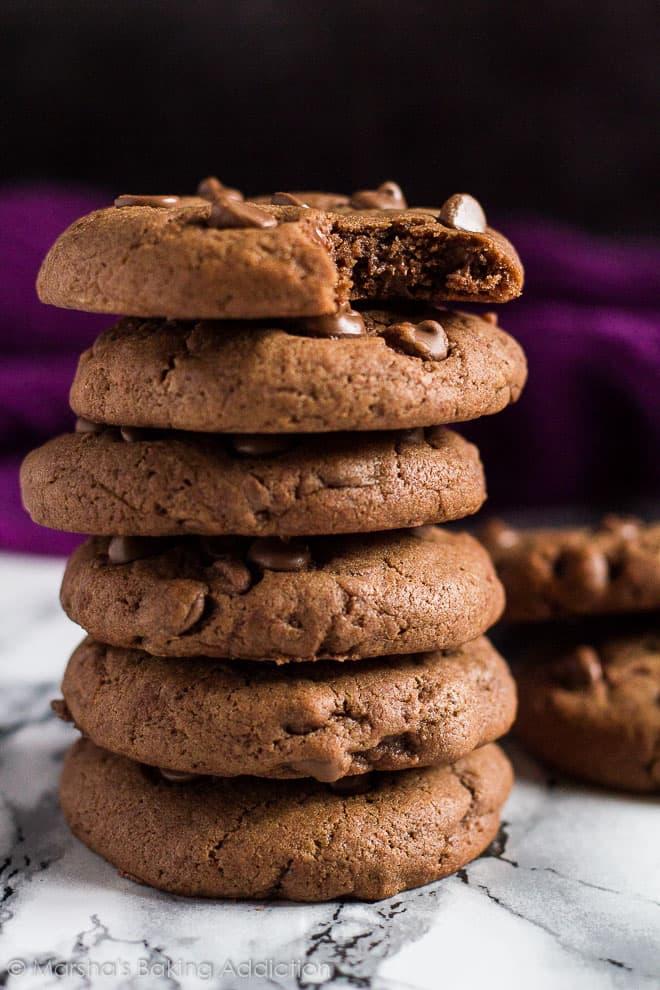 Double Chocolate Cream Cheese Cookies | marshasbakingaddiction.com @marshasbakeblog