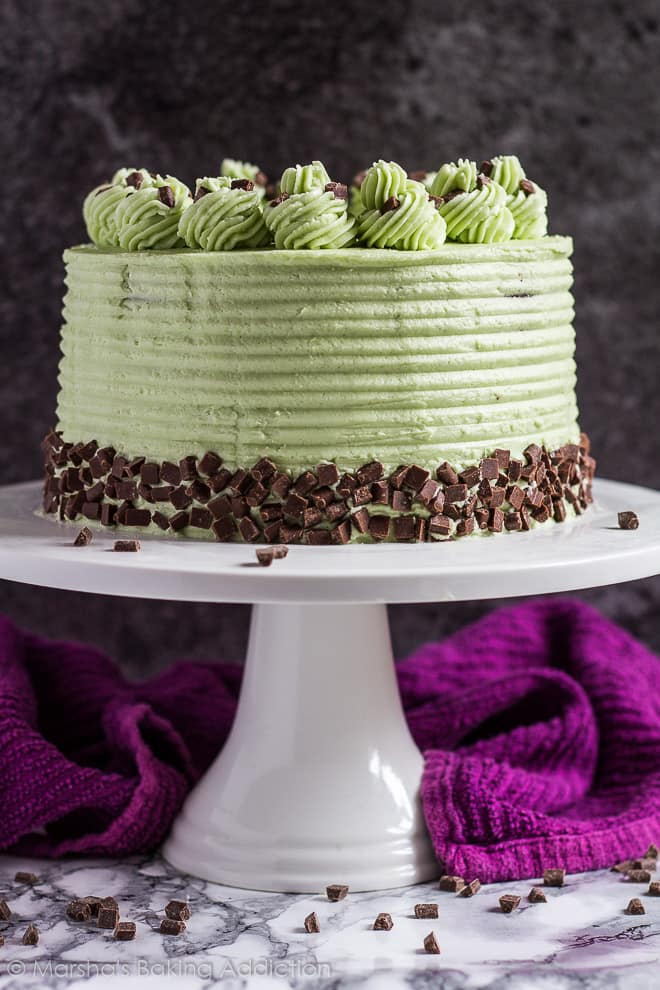 Mint Chocolate Chip Layer Cake | marshasbakingaddiction.com @marshasbakeblog