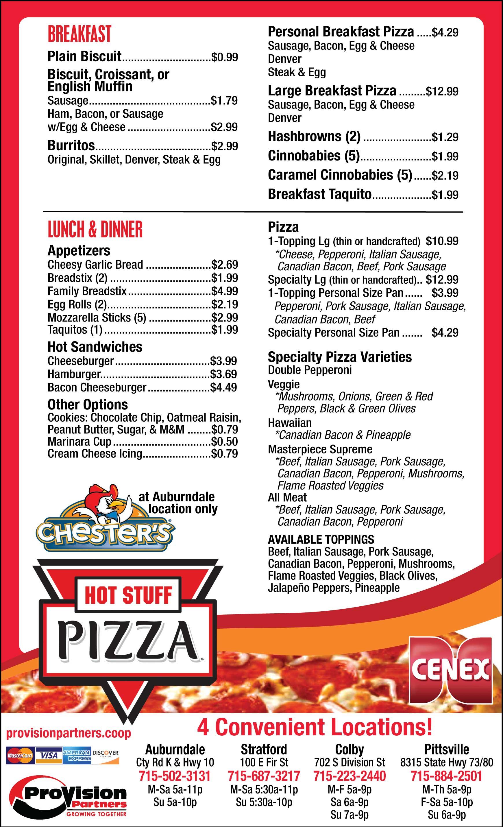 Hot Stuff Pizza Cenex Convenience Store Menu Restaurant Marshfield WI