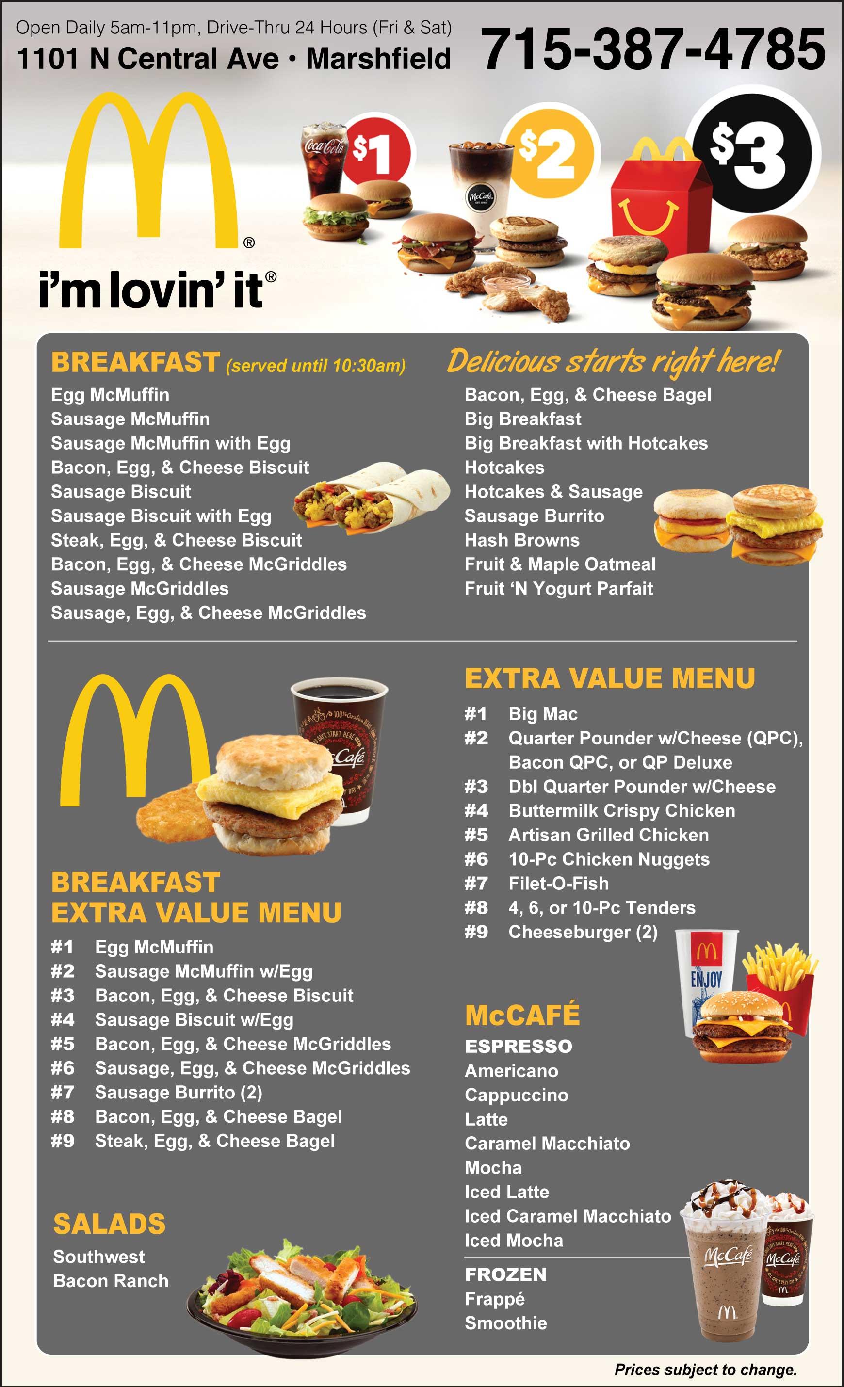 Mcdonald S Fast Food Menu Restaurant Marshfield Wi