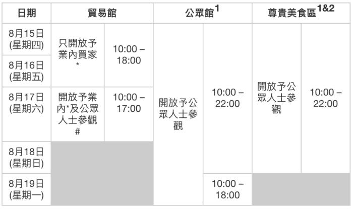 香港美食博覽2019-開放時間