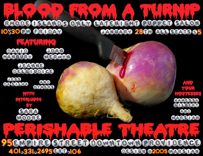 Blood From A Turnip, January 28, 2005, poster, designed by Marsian De Lellis