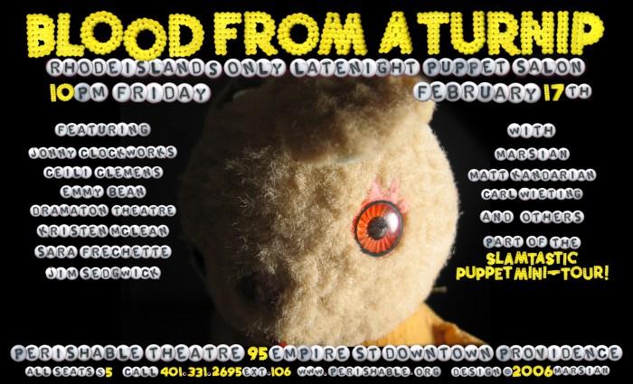 Blood from a Turnip, February 17, 2006, poster design: Marsian De Lellis