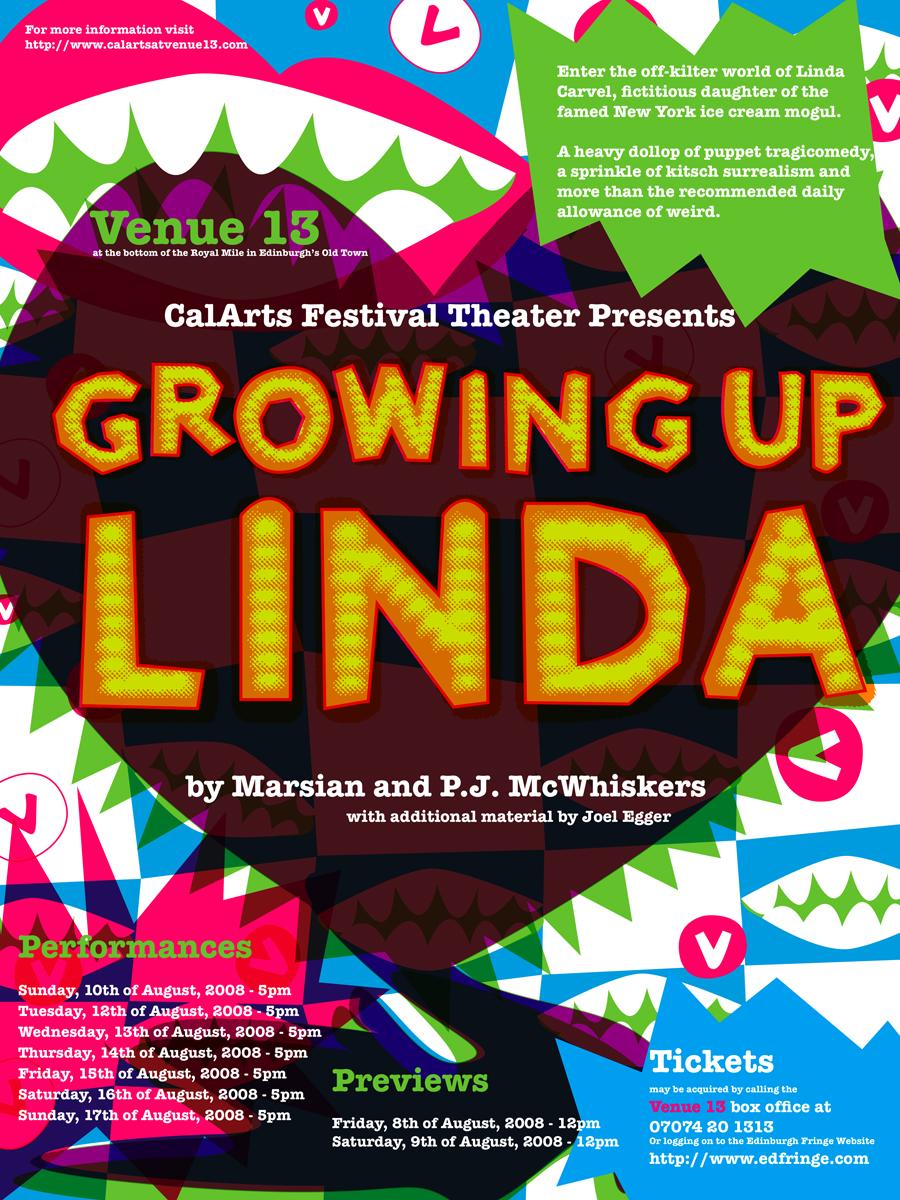 Growing Up Linda - Edinburgh, poster design: Anne Mills Coté