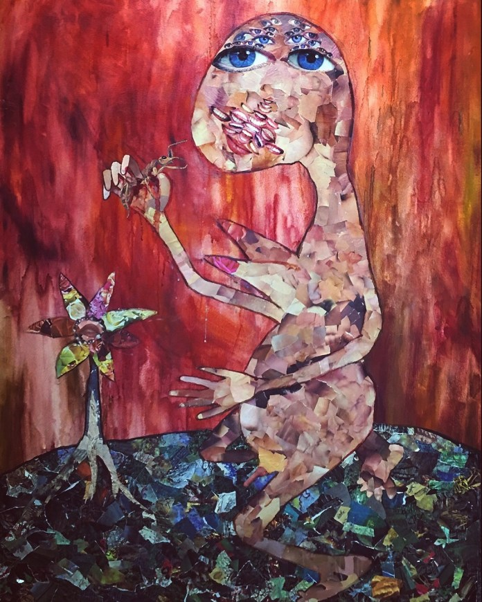 "untitled, 45.5"" x 59"" x 2"", cutouts, oil paint, and glue on canvas, 1994"