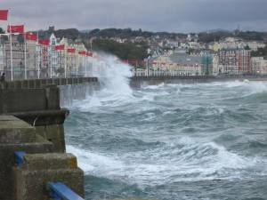 Breaking waves. Douglas, Isle of Man