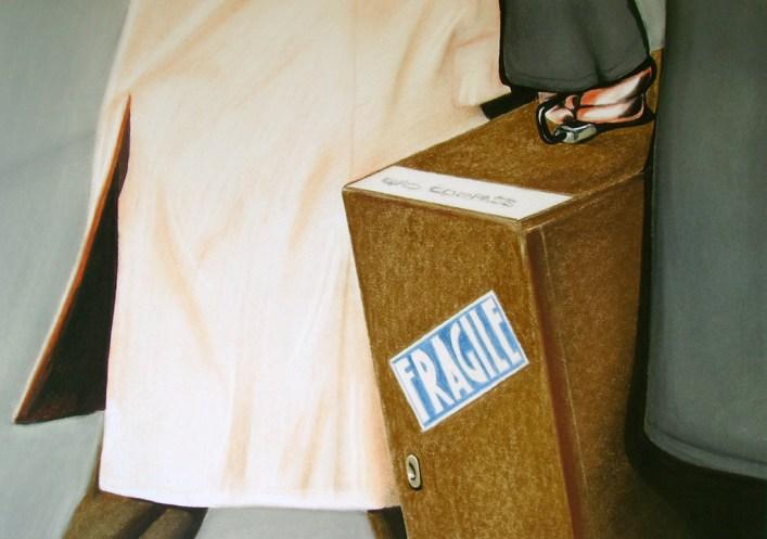Fragile (2009) Dibujo, lápiz y pastel sobre papel. Medidas 28 x 30 cm. Film: How to Steal a Million (1966) Dir. William Wyler
