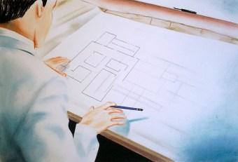 Architect (2011) Dibujo, lápiz y pastel sobre papel. Medidas 30 x 40 cm. Film: Idian Tomb (1959) Dir. Fritz Lang