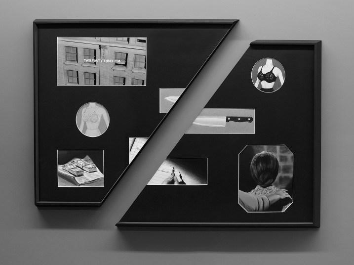 Psycho. Dibujo, lápiz y pastel sobre papel montados en passepartout con ventanas. 80 x 120 cm.