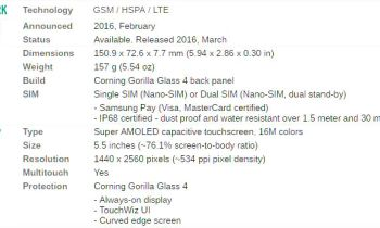 samsung s7 specification