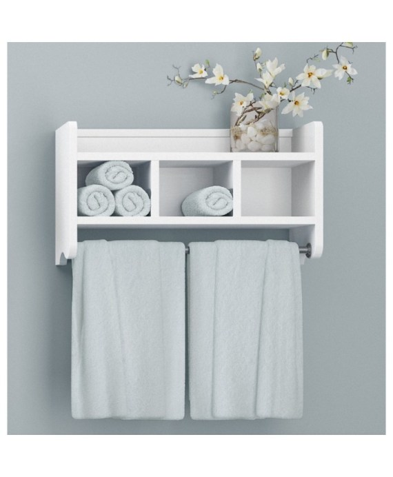 Wood Bath Storage Shelf white