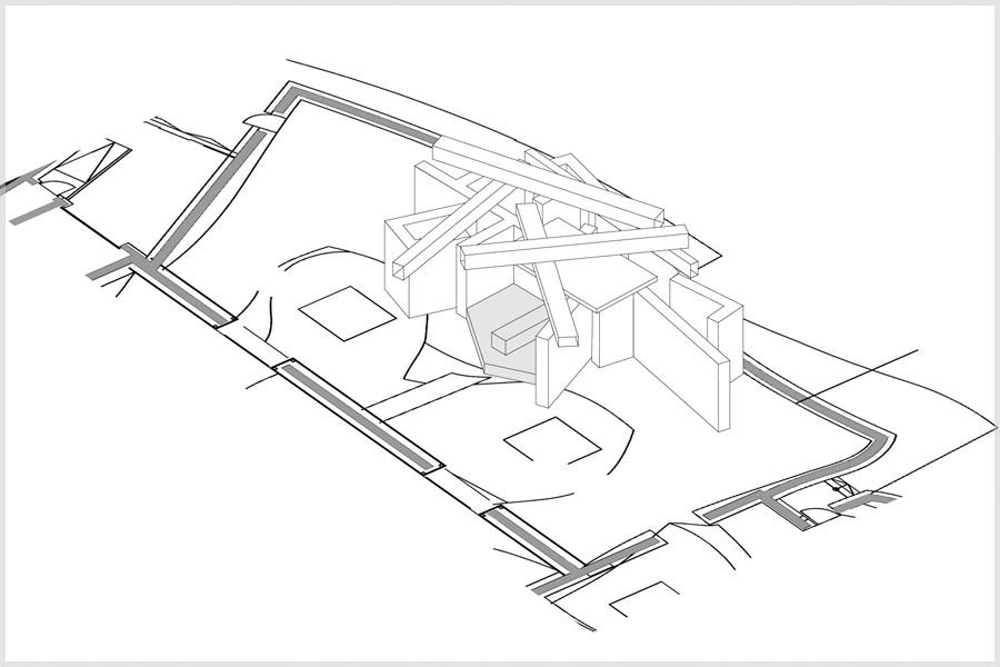 Skizze der geplanten Installation von Stefan Eberstadt für die Marta-Ausstellung Der fremde Raum