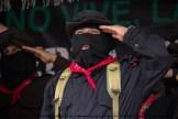 El Subcomandante Insurgente Moisés en el momento en que se canta el Himno Zapatista.