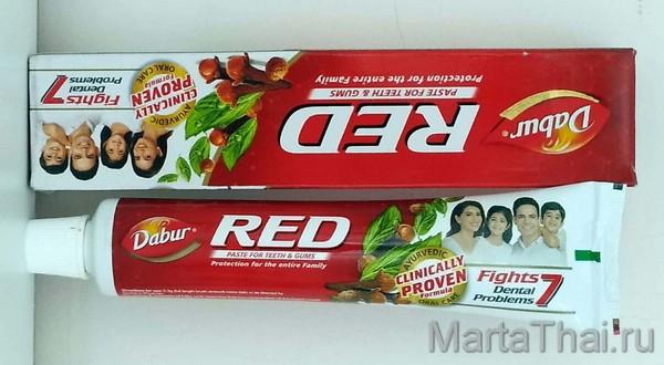 аюрведическая зубная паста red dabur