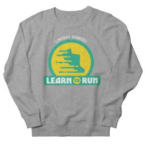 Lindsay Somers Learn to Run logo on heather grey sweatshirt