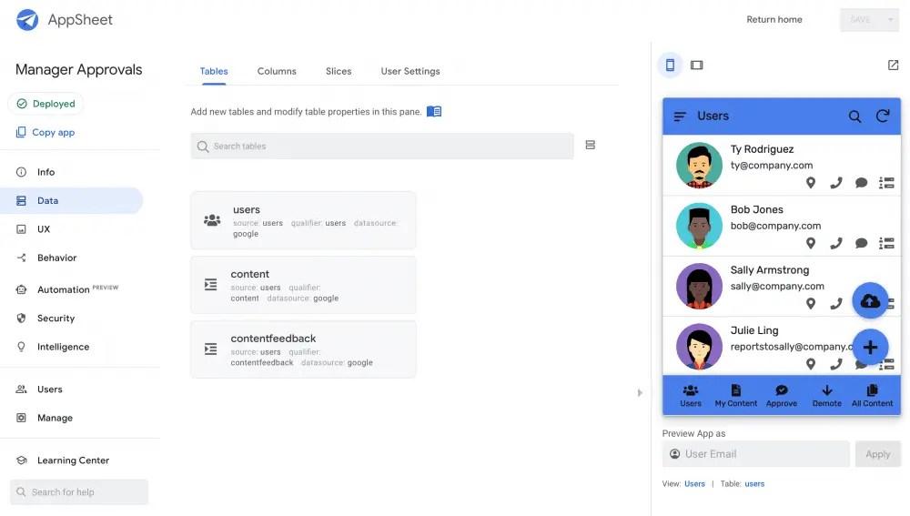 Approbation du contenu Google AppSheet