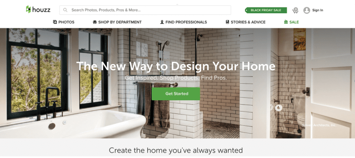 Houzz Landing page