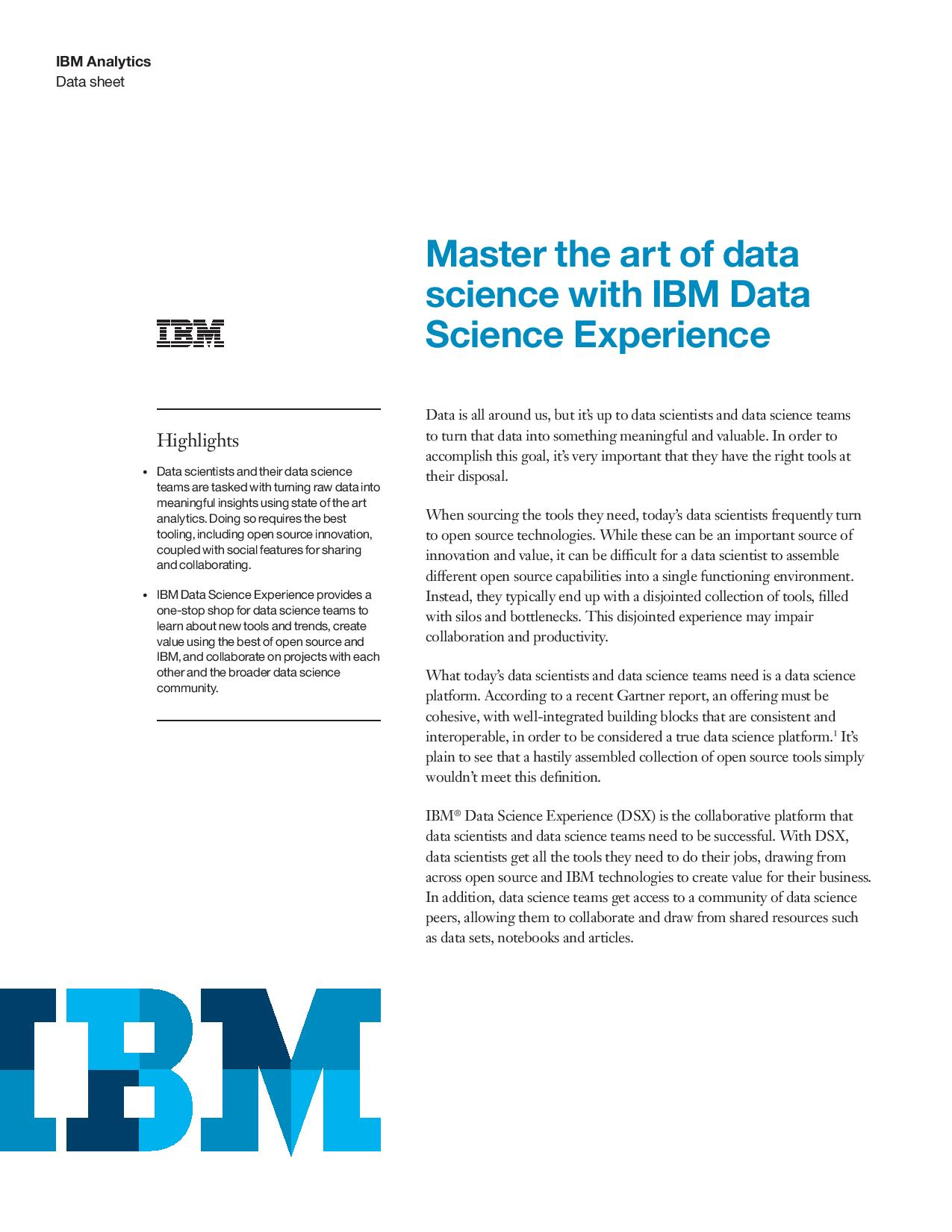Master the art of data science with IBM Data Science Experience