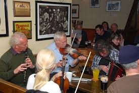 Musicians in an Irish pub - an Irish music session.