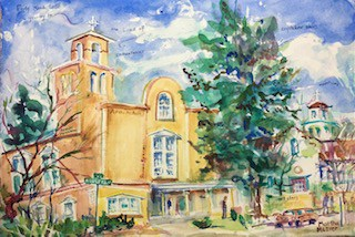 watercolor painting of stucco church with trees