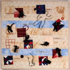 Martha Ressler, Throw-away Nation, art quilt 24 x 24""