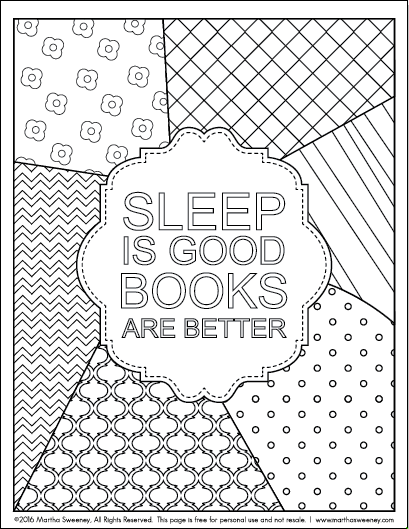 Bookish: Adult Coloring Book by Martha Sweeney Free Print and Color Design