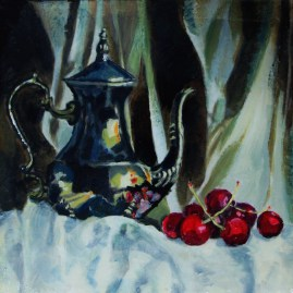 41 Still Life with Silver Coffee Pot and Cherries II
