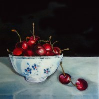 Title: Cherries in a Chinese Bowl, 8 X 8 X 1.5 inches, acrylic on canvas