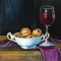 Title: Glass of Wine With Mini Pears in Heirloom Porcelain Bowl, acrylic on canvas, 8 X 8 X 1.5 inches
