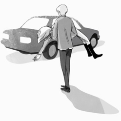 Isn't it a bit odd to pick up a teenager in a weird outfit sleeping by the side of the road? Oh well, otherwise he might have died. - Illustration in black and white by Ollie Brock for The Return of the Young Prince.