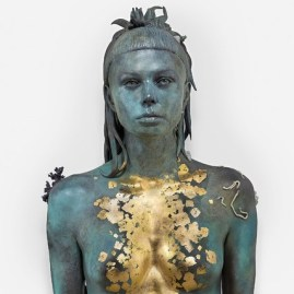 """Damien Hirst """"Aspect of Katie Ishtar ¥o-landi"""", 2017, Photo by Prudence Cuming Associates. ¥o-landi/YoLandi Visser is an actress and the female vocalist in the South African zef rap group """"Die Antwoord"""", famous for her white hair cut with a short fringe."""