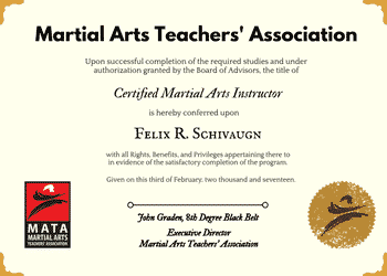 martial arts instructor certification