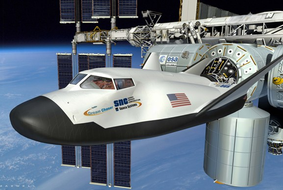 Dream Chaser docking with the International Space Station.