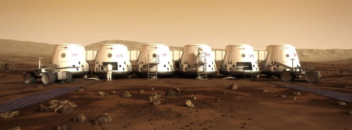 Artist depiction of habitats to house Mars One colonists. Image courtesy Mars One Foundation