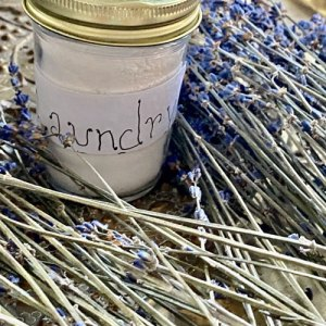 Jar of organic lavender laundry soap