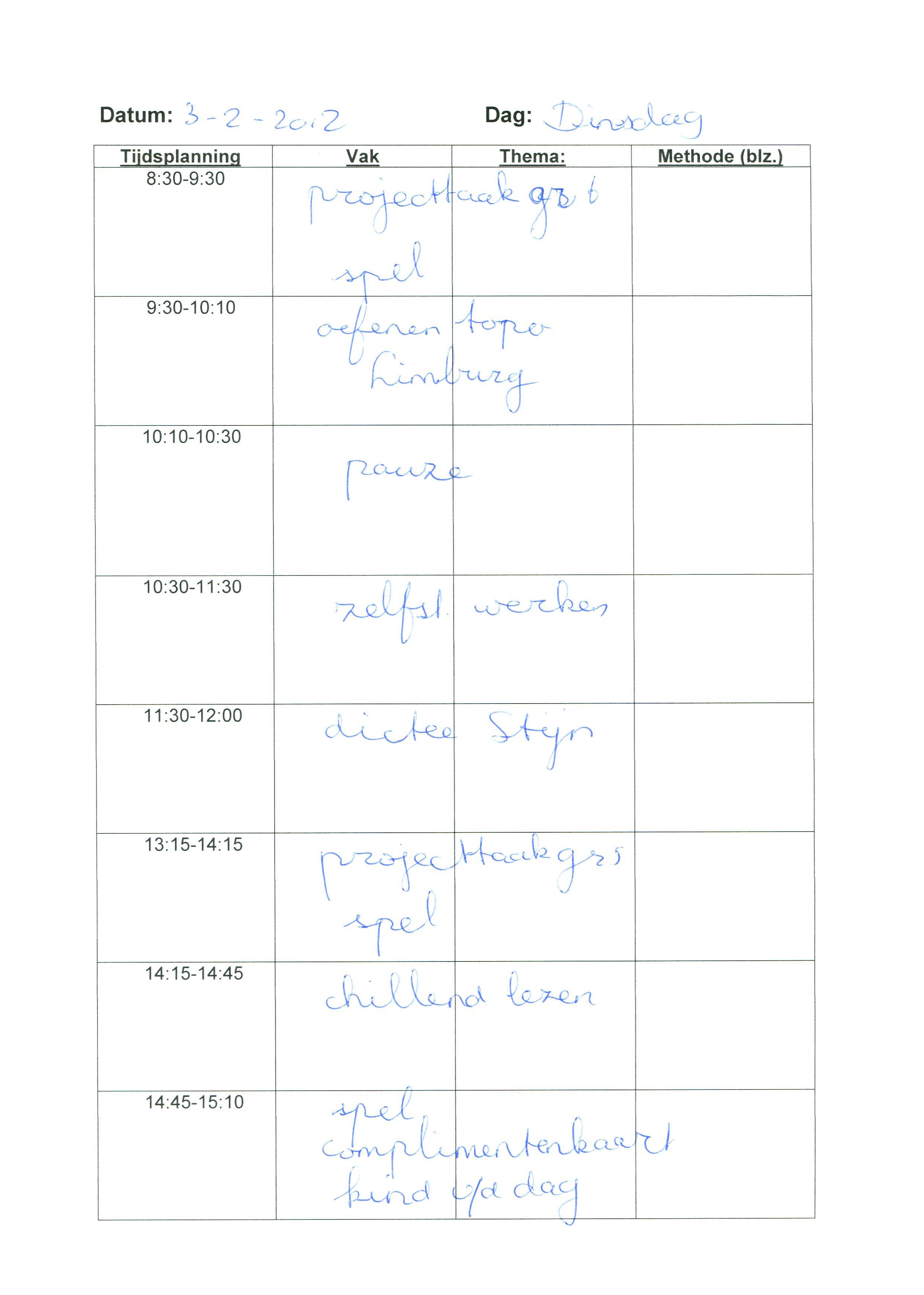 Weekplanningen