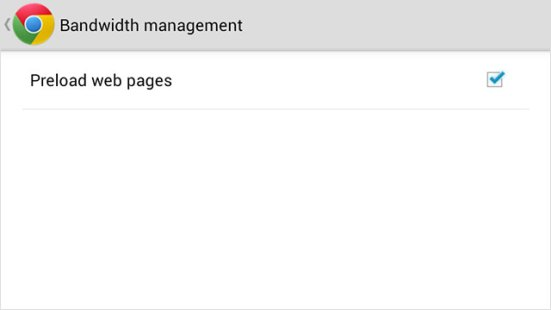 Chrome for Android – Bandwith Management