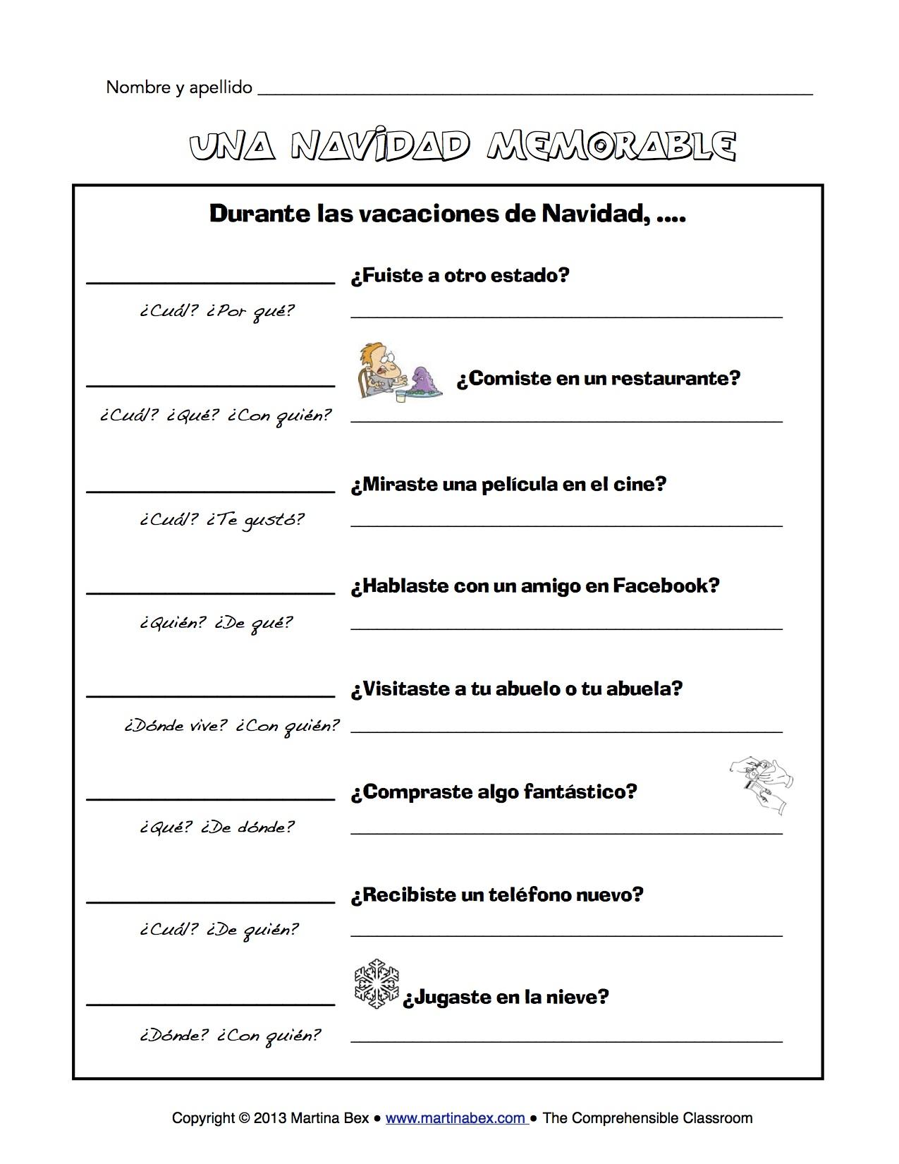 Christmas Worksheet In Spanish
