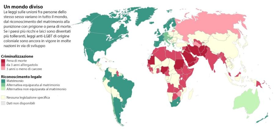 Mappa dei diritti civili delle persone omosessuali nel mondo