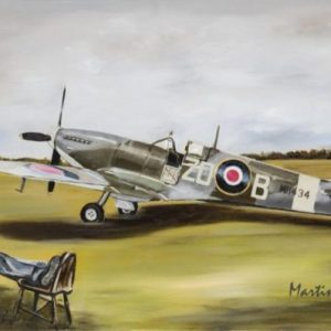 Sleeping pilot Spitfire MH434 Painting Art