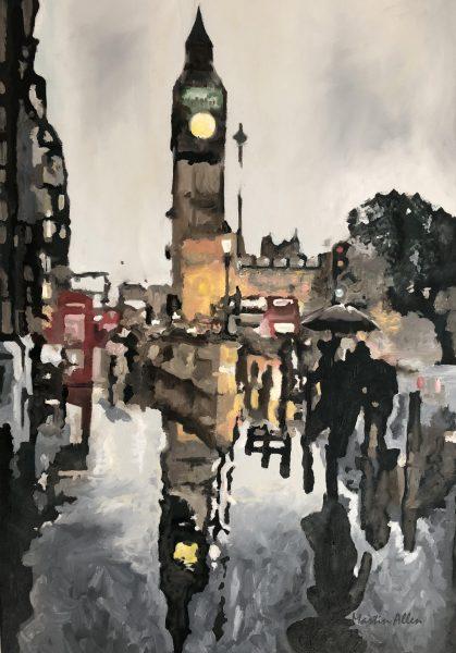 london in the rain wall art big ben