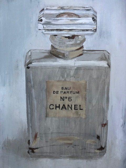 Vintage Chanel Perfume Bottle Painting Art