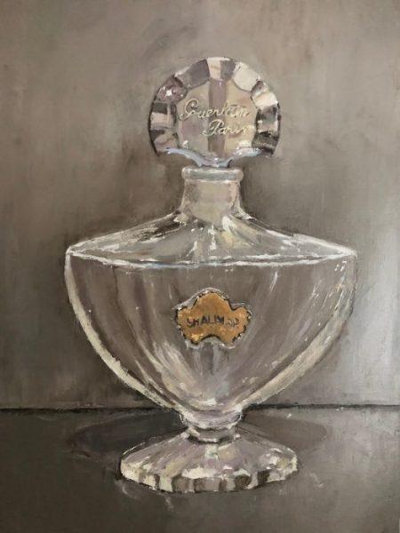 Vintage Guerlain Shalimar Perfume Bottle Oil Painting Art