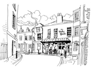 Black and white line drawing of the Holly Bush Inn, Hampstead