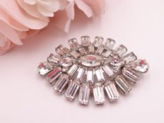 Weiss oblong clear rhinestone brooch