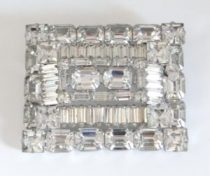 Weiss clear rhinestone brooch with emerald cut and baguette rhinestones