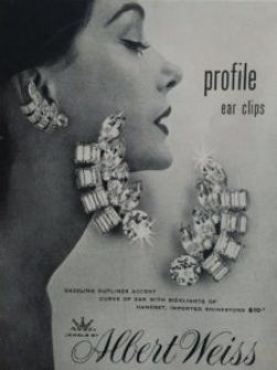 Weiss 1950s print ad for earrings