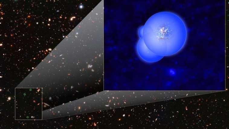 Esta ilustración del grupo de galaxias EGS77 muestra las galaxias rodeadas por burbujas superpuestas de hidrógeno ionizado. Crédito de la imagen: NASA, ESA y V. Tilvi (ASU)?