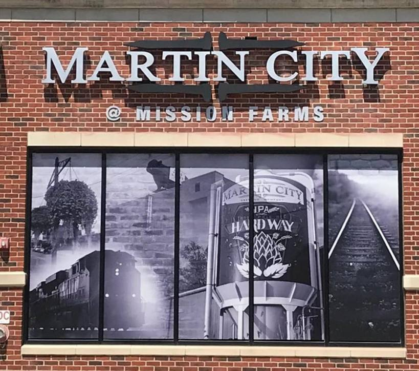 Martin City Brewing at Mission Farms sign
